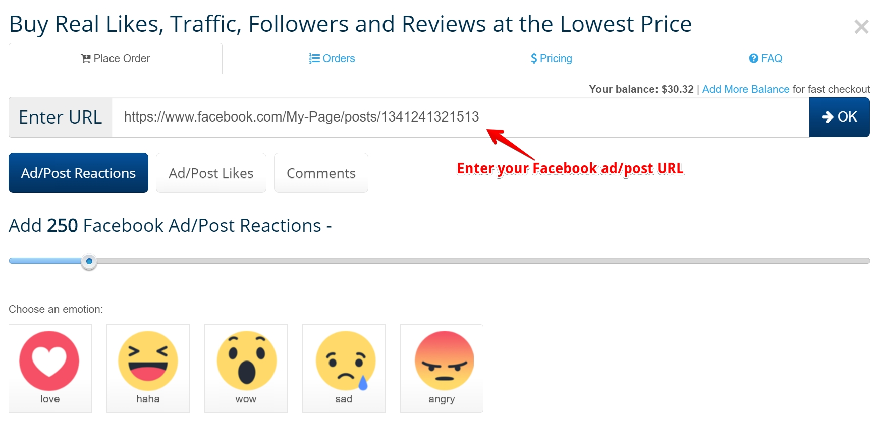 buy Facebook post likes reactions